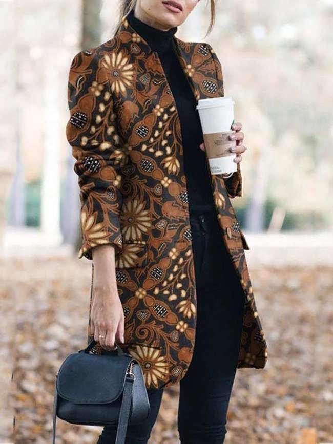 Fashion Retro print  Stand collar Long sleeve  Pockets Coat