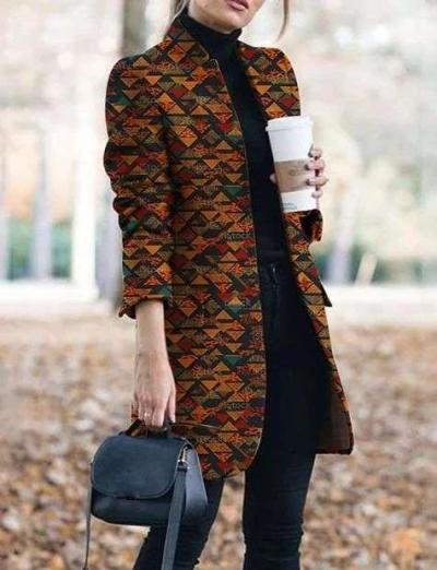 Fashion Floral print Stand collar Long sleeve  Pockets Coat
