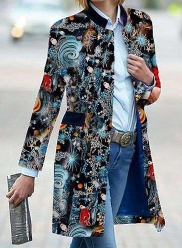 Fashion Floral print Gored Stand collar Long sleeve  Pockets Coat