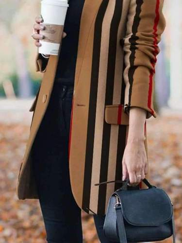 Fashion Stripe Stand collar Long sleeve  Pockets Coat
