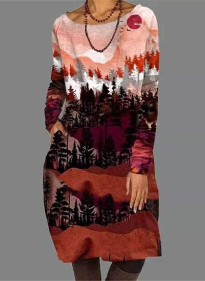 Casual Loose Landscape print Round neck Long sleeve Shift Dresses