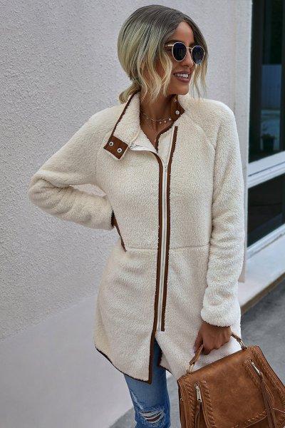 Zipper Plush Women Fashion Coats