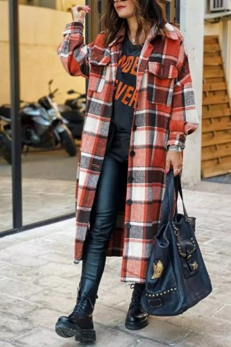 Women fashion Lapel Wool Plaid Coats Turn down neck blouse coats