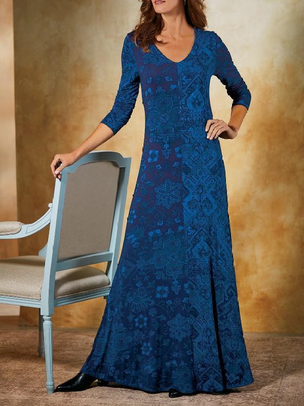 Womens retro print V-neck casual maxi dresses