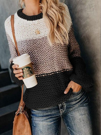Autumn and Winter New Fashion Bold Color Matching Sweaters Clothes for Women