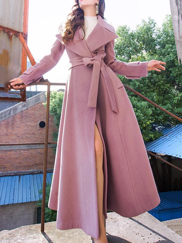 Elegant Lapel Collar Long Sleeve Belted Coats