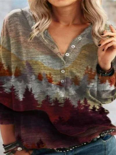 Fashion Casual Retro print Fastener Long sleeve T-Shirts