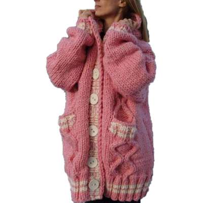 Casual Loose Long sleeve Knit Hoodie Cardigan Coats