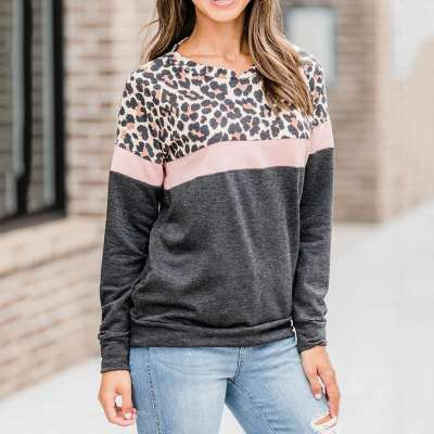 Casual Gored Leopard print Round neck Long sleeve Sweatshirts
