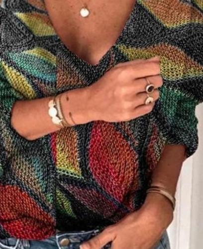 Fashion Casual Retro print V neck Long sleeve Knit Sweaters