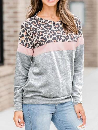 Casual Gored Leopard print Round neck Long sleeve Sweatshirts