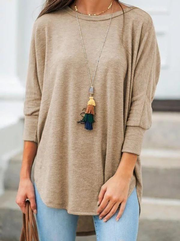 Womens loose casual round neck hem irregular solid color T-shirt
