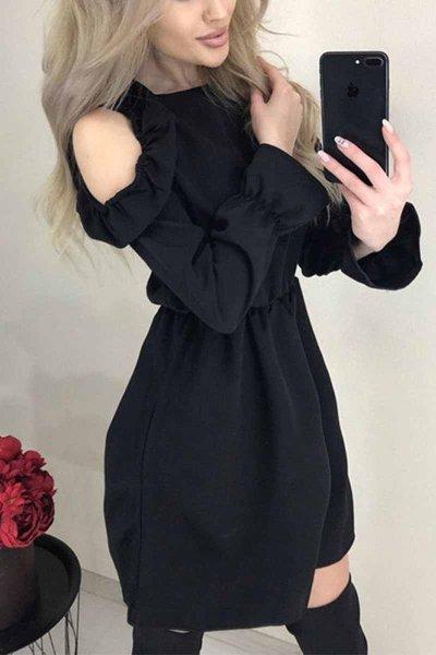 Casual Strapless Ruffle Mini Dresses
