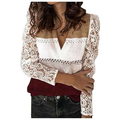 Fashion Lace Gored V neck Long sleeve Knit Sweaters