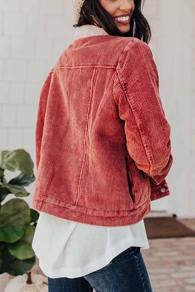 Turn down neck Corduroy Lamb Wool Panel Coat Tops