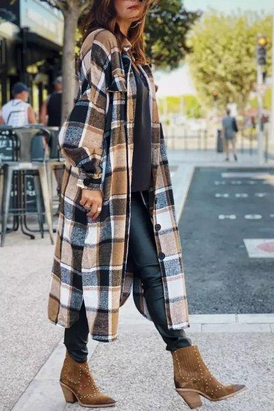 Women fashion Lapel Wool Plaid Coats Turn down neck blouse coats