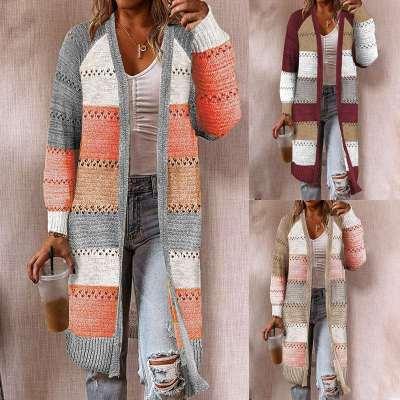 Fashion Gored Long sleeve Knit Coats