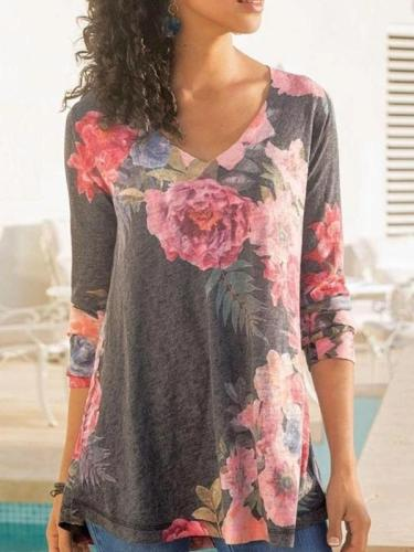 Womens V-neck Long Sleeve Printed Casual T-shirts