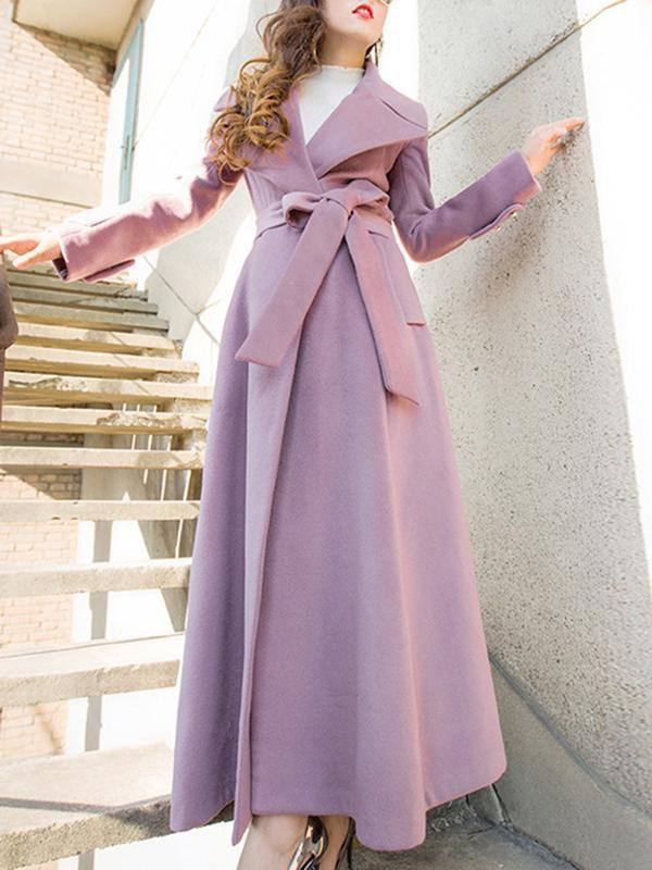 Elegant Lapel Collar Long Sleeve Belted Coats