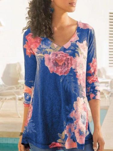 Womens V-neck Long Sleeve Printed Casual T-shirts