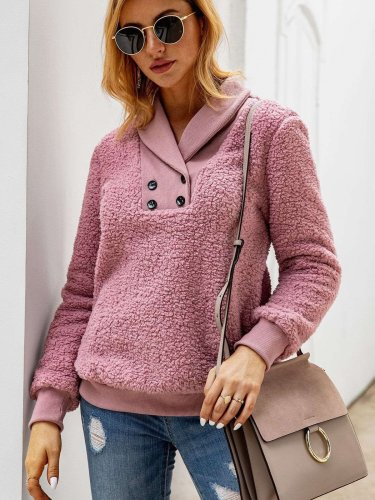 Fashion Plush Lapel Fastener Long sleeve Sweatshirts