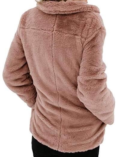 Casual Pure Lapel Plush Long sleeve Pocket Coats