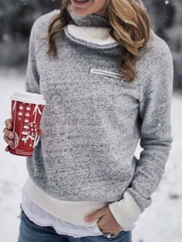 Fashion Gored Plush High collar Long sleeve Sweatshirts