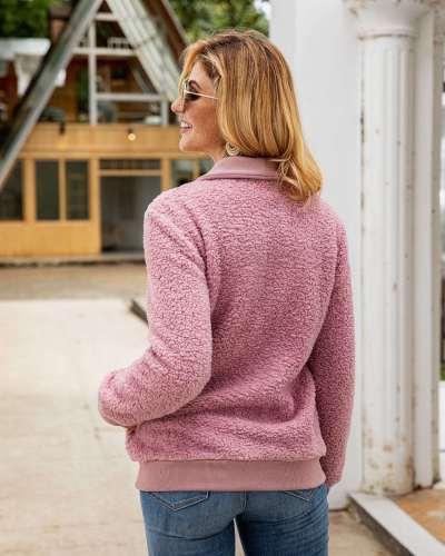 Fashion Plush Lapel Fastener Long sleeve Sweatshirts