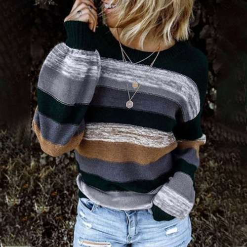 Casual Loose Stripe Round neck Long sleeve Knit Sweaters