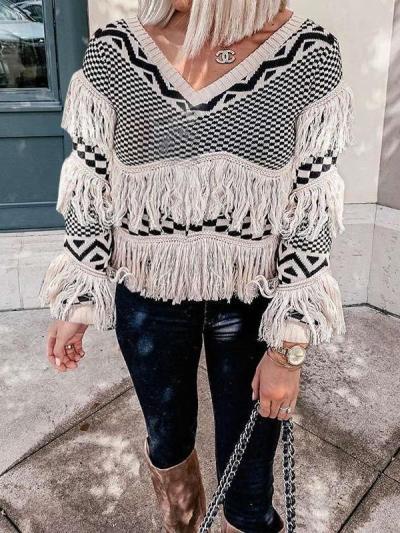 Stripe Gored Macrame V neck Long sleeve Knit Sweaters