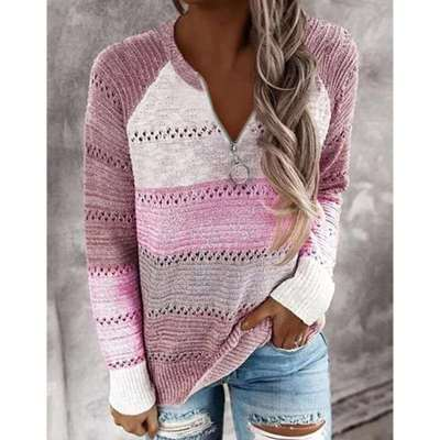 Fashion Gored Zipper V neck Long sleeve Knit Sweaters