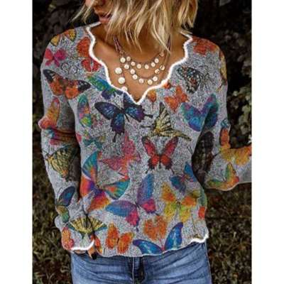 Women Simple Basic Floral-Print Shift Long Sleeve Sweaters