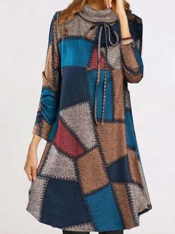 Fashion Casual Gored print High collar Long sleeve Lacing Knit Shift Dresses