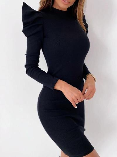 Women slim sexy round neck bubble sleeves solid color bodycon dresses