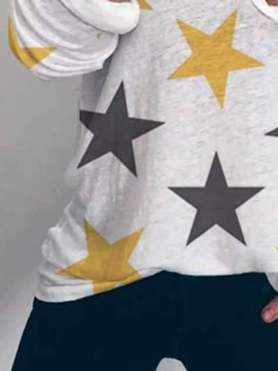 Casual Star print V neck Long sleeve T-Shirts
