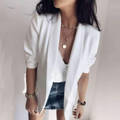 Simple Casual Pure Lapel Long sleeve Blazer