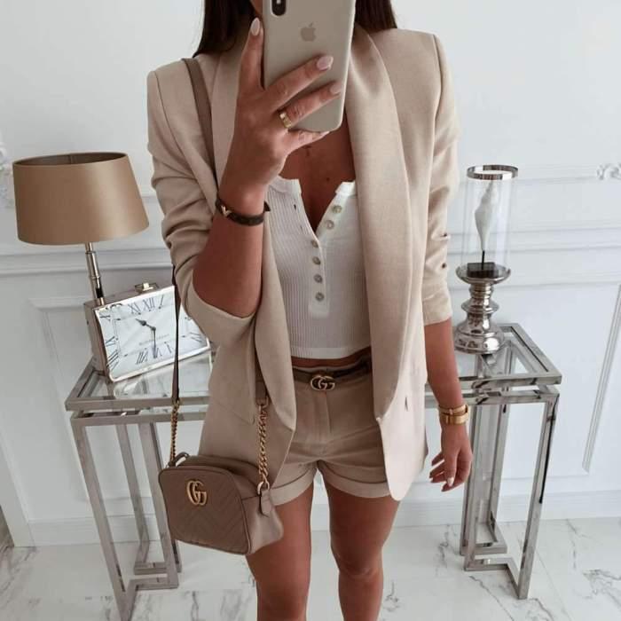 Simple Casual Pure Lapel Long sleeve Blazer