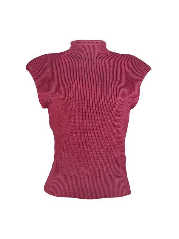 Plain high neck sleeveless fashion sweaters vests