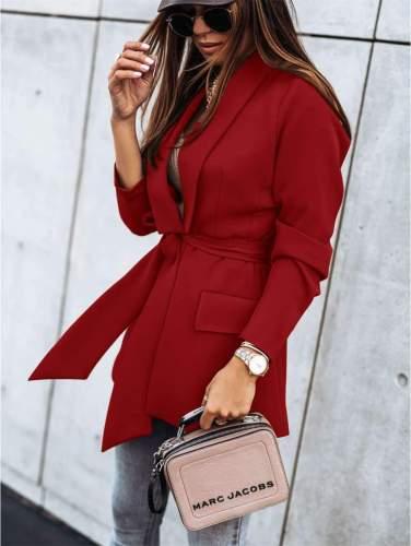 Fashion Pure Lapel Long sleeve Belt Blazer Coats