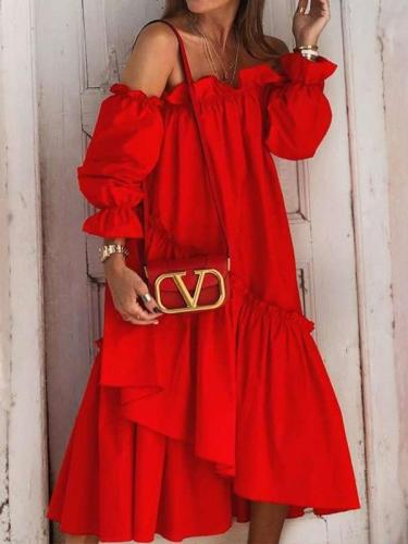Causual Pure One shoulder Long sleeve Falbala Maxi Dresses