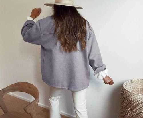Casual Pure Lapel Long sleeve Fastener Pocket Coats