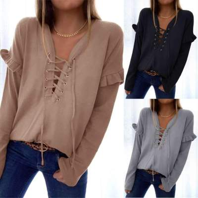 Casual Pure V neck Lacing Long sleeve Falbala T-Shirts