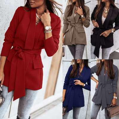 Fashion Pure Lapel Long sleeve Belt Blazer Coats