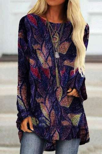 Fashion Casual Retro print Round neck Long sleeve Plus T-Shirts