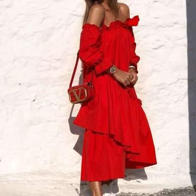 Causual Pure One shoulder Long sleeve Falbala Maxi Dresses