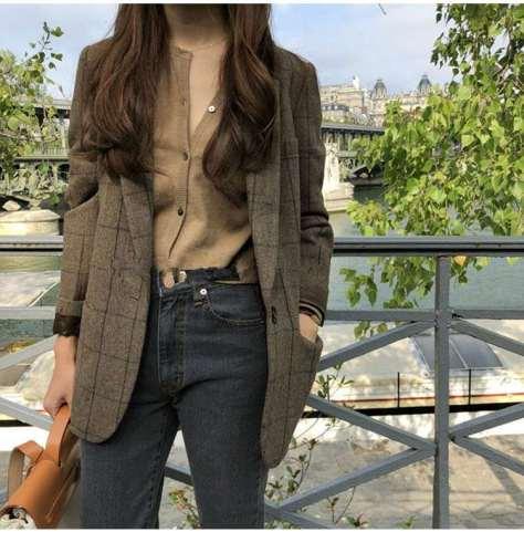 Casual Plaid print Lapel Long sleeve Blazer