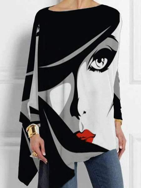 Fashion Casual Abstract print Round neck Long sleeve Plus T-Shirts