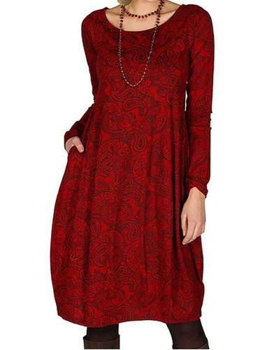Casual Loose Retro print Round neck Long sleeve Shift Dresses