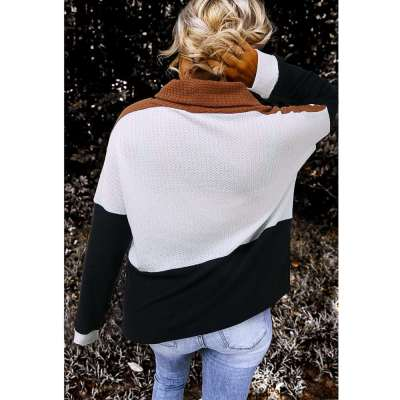 Fashion Gored Heaps collar Long sleeve Knit Sweaters