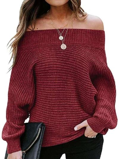 Casual Loose One shoulder Pure Long sleeve Knit Sweaters